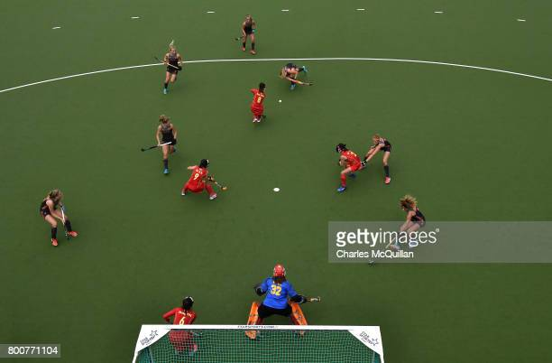 China defend a Netherland's penalty corner during the FINTRO Women's Hockey World League SemiFinal Pool A game between China and Netherlands on June...