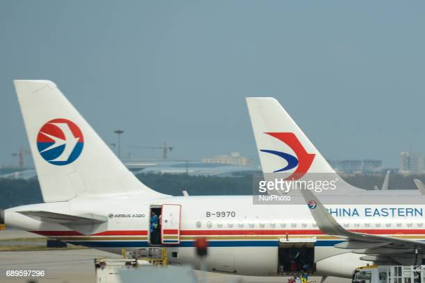 China Eastern Airline aircraft seen at Beijing Airport On Monday September 12 2016 in Beijing China