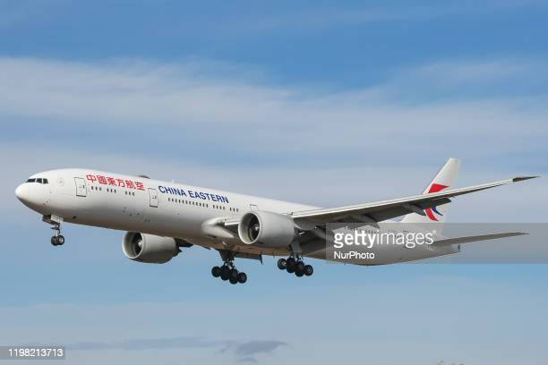 China Eastern Airlines Boeing 777300 commercial aircraft as seen on final approach landing at New York JFK John F Kennedy International Airport in NY...