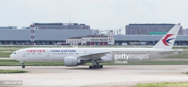 China Eastern Airlines Boeing 77739P in runaway at Shanghai Pudong International Airport on September 08 2018 in Shanghai China
