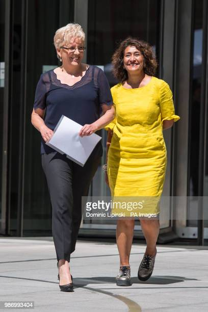 BBC China Editor Carrie Gracie alongside BBC journalist Razia Iqbal outside BBC New Broadcasting House London after Ms Gracie resolved her equalpay...