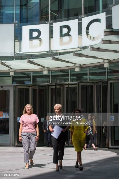 BBC China Editor Carrie Gracie alongside BBC journalists Martine Croxall and Razia Iqbal leaves BBC New Broadcasting House to speak to the media...