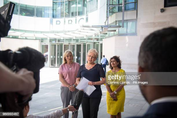 BBC China Editor Carrie Gracie speaks to the media alongside BBC journalists Martine Croxall and Razia Iqbal outside BBC New Broadcasting House...