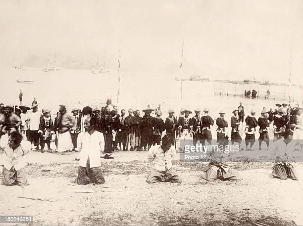 China execution of pirates in Koolong Bay at Hong Kong 19th century Print Private collection