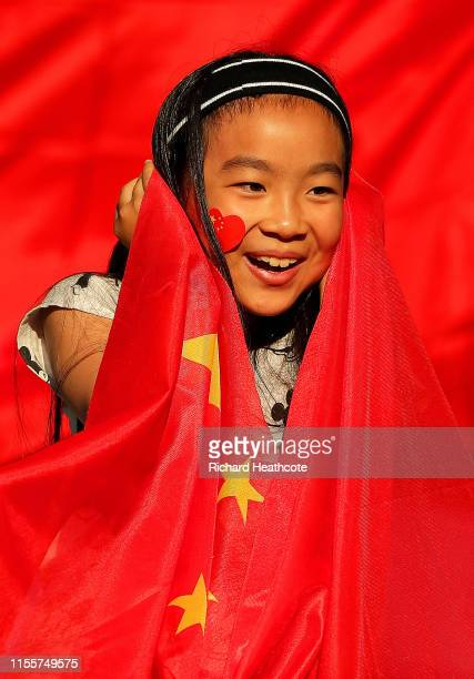 China fan looks on prior to the 2019 FIFA Women's World Cup France group B match between South Africa and China PR at Parc des Princes on June 13,...