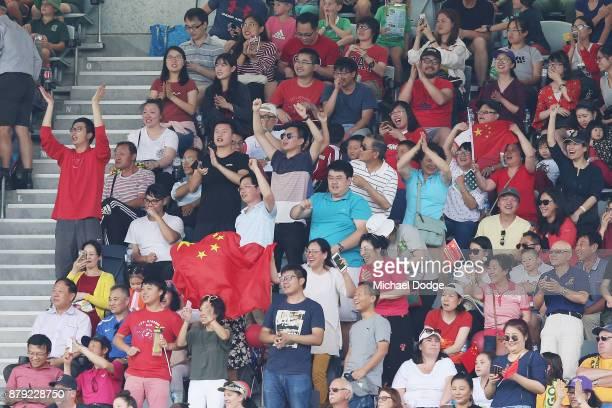 China fans celebrates a goal during the Women's International match between the Australian Matildas and China PR at Simonds Stadium on November 26...