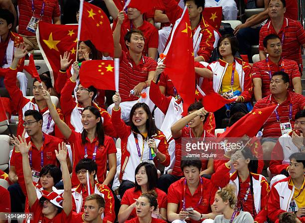 China fans cheers on their team on Day 2 of the London 2012 Olympic Games at the Aquatics Centre on July 29 2012 in London England