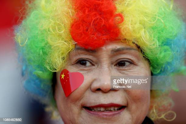 China fans enjoy the atmosphere ahead of the AFC Asian Cup round of 16 match between Thailand and China at Hazza Bin Zayed Stadium on January 20 2019...