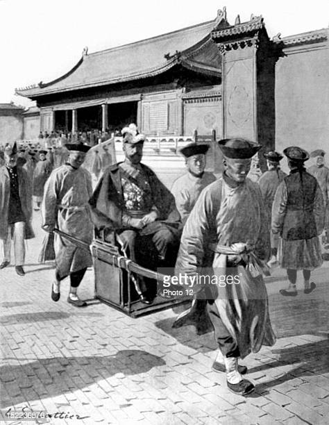 China First diplomatic reception at the Palace of Peking, After the audience, Mr, Beau, Minister of France, in his chair, carried by two eunuchs.