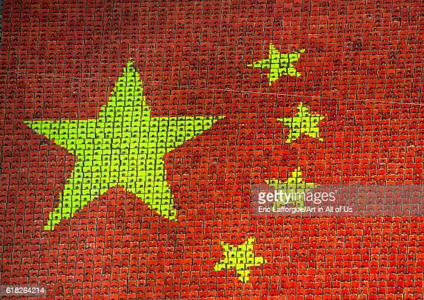 China flag fresco during the arirang mass game in may day stadium pyongyang North Korea on September 6 2012 in Pyongyang North Korea