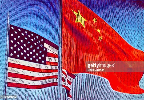 usa china flags flying - trade war illustration - diplomacy stock pictures, royalty-free photos & images