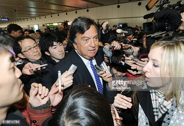 BEIJING China Former New Mexico Gov Bill Richardson is surrounded by reporters at Beijing's international airport on Jan 10 after arrival from...