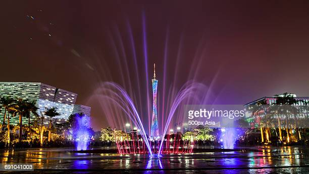 China, Fountain and light show at night near Canton Tower