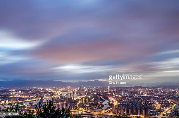 China, Fujian Province, Fuzhou, Fuzhou city at sunset