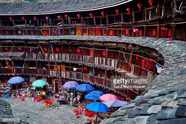 china, fujian province, yuchang lou village - fujian stock photos and pictures