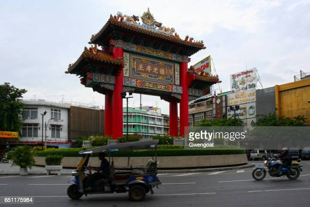 china gate in bangkok - gwengoat stock pictures, royalty-free photos & images