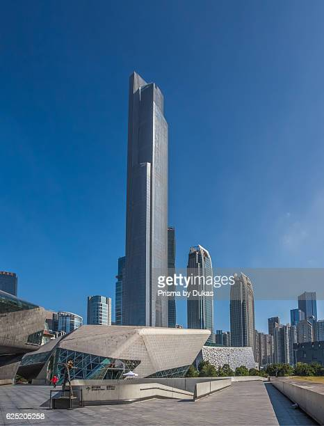China, Guangdong Province, Guangzhou City, Wuyang New Town, Opera House and East Tower.