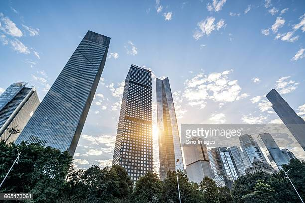 China, Guangdong Province, Guangzhou, Low angle view of skyscrapers