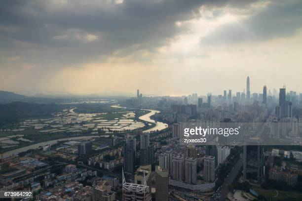 China, guangdong province,Shenzhen Cityscape,High Angle View.