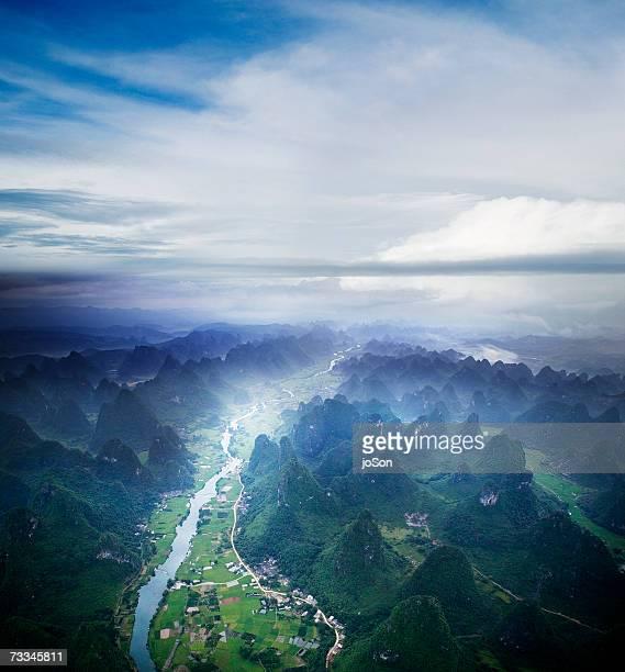 China, Guangxi, aerial view