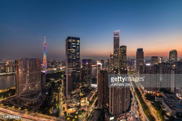 china guangzhou city skyline - guangzhou stock pictures, royalty-free photos & images