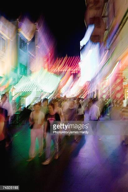 China, Guangzhou, crowded pedestrian street at night