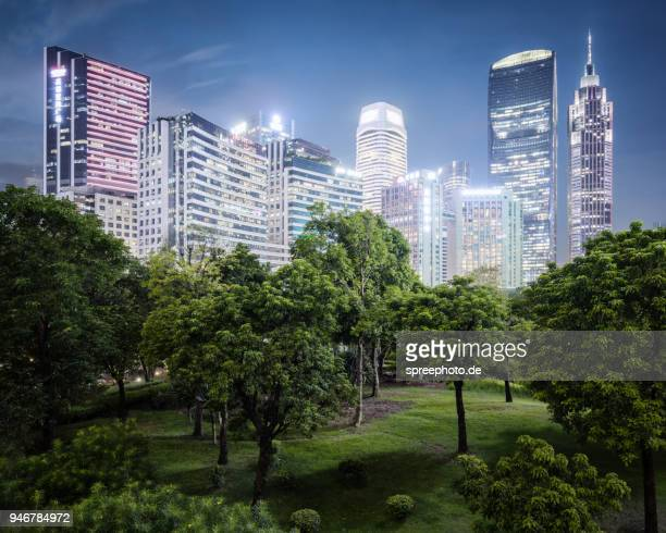 china guangzhou skyline with nature - urban sprawl stock pictures, royalty-free photos & images