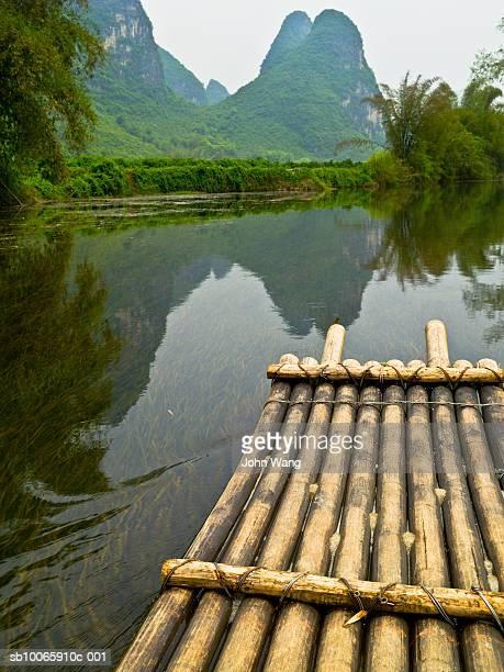 China, Guilin, Li river, bamboo raft on river