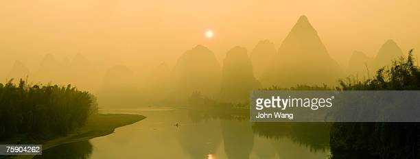 China, Guilin, mountain with river, aerial view