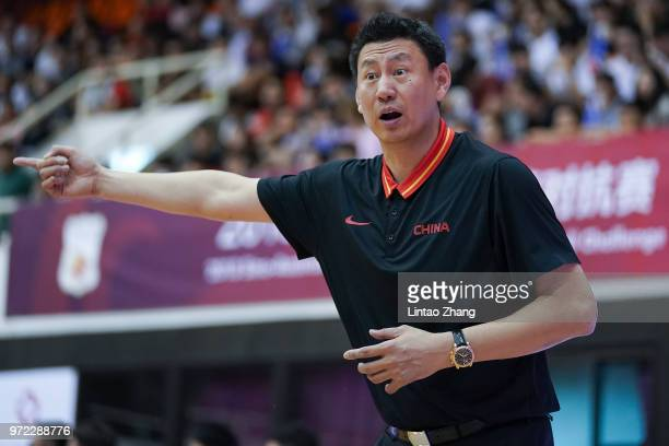 China head coach Li Nan directs his players during the 2018 SinoAustralia Men's Internationl Basketball Challenge match between the Chinese National...