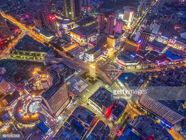 China, Hebei Province, Zhengzhou, Aerial view of Zhengzhou city at night