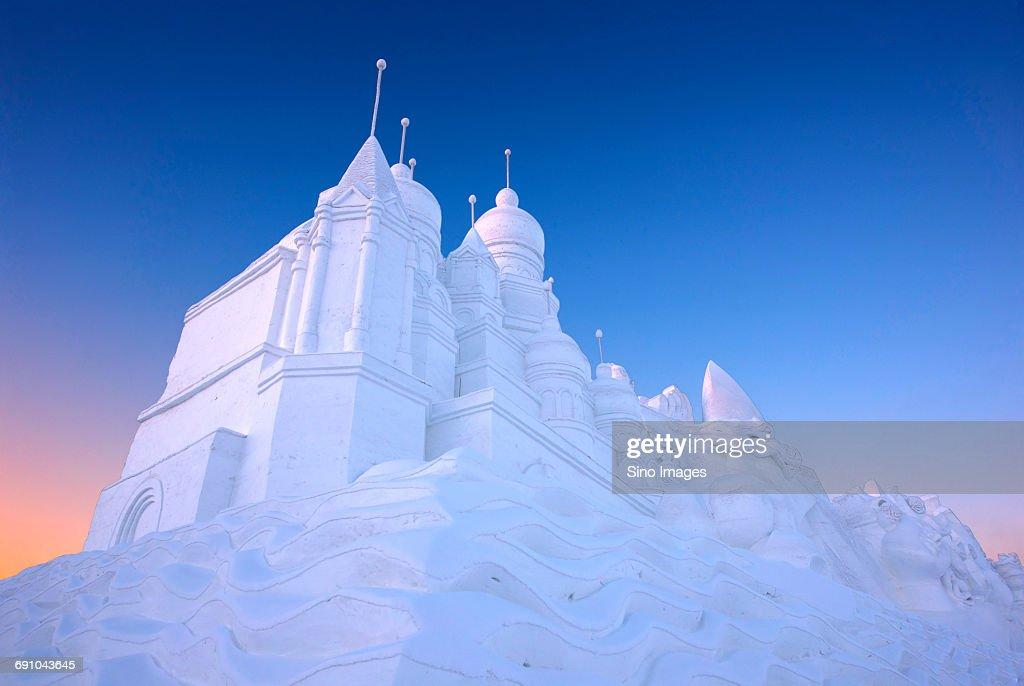 China, Heilongjiang Province, Harbin, Ice sculpture palace at Harbin International Ice and Snow Sculpture Festival : Stock Photo