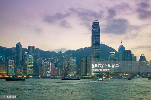 China, Hong Kong, Evening view of Central Hong Kong towards Victoria Peak with Two International Financial Centre, 2IFC, Tower at dusk