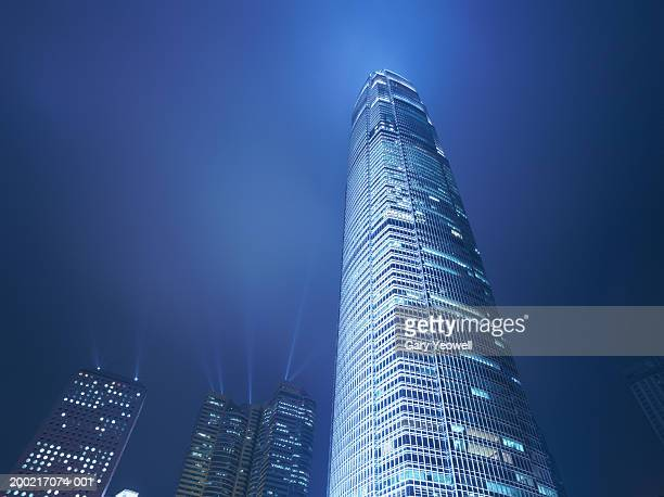 china, hong kong, international finance centre building, night - two international finance center stock pictures, royalty-free photos & images