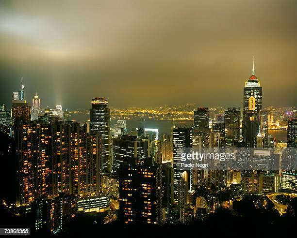 China, Hong Kong Island, Cityscape, Downtown at night, high angle view