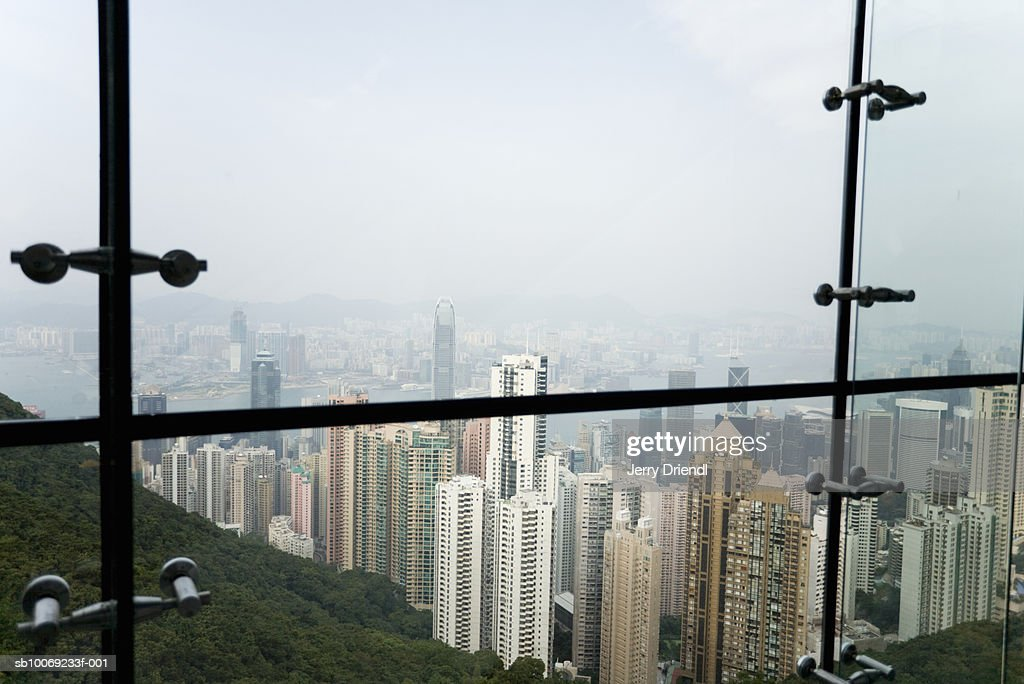 China, Hong Kong, Kowloon, Skyline through window, high angle view : Stockfoto