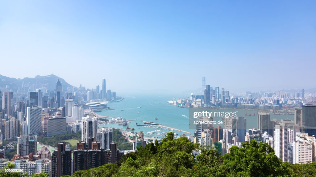 China, Hong Kong modern skyline panorama : Stock-Foto
