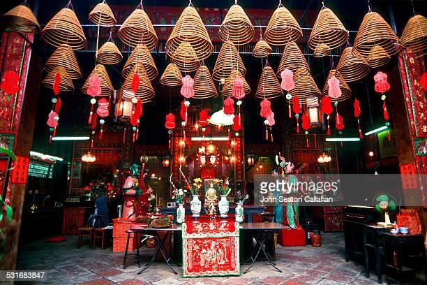 China Hong Kong SAR Kowloon Mongkok incense coils burning in the Tin Hau temple