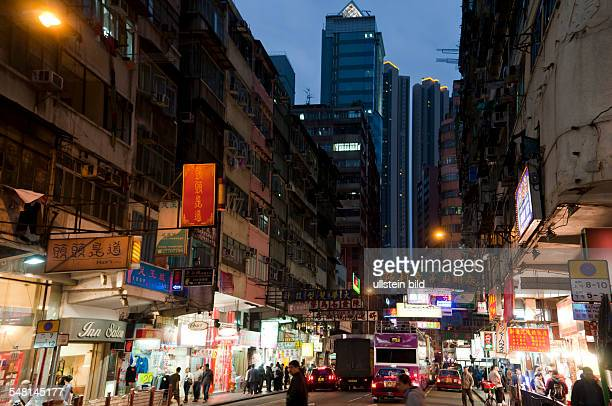 China Hongkong Kowloon - road traffic at Shanghai-Street in the Jordan district