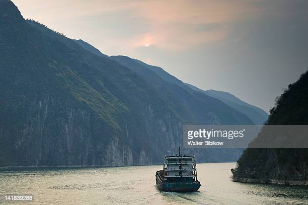 China, Hubei Province, Yangzi River, Yangzi River sunset in the Wu Gorge