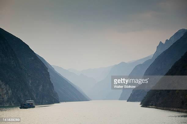 China, Hubei Province, Yangzi River, Yangzi River sunset in the Wu Gorge