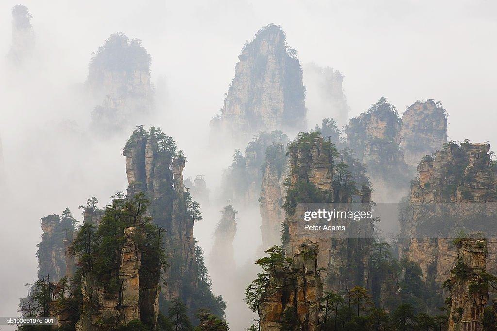 China, Hunan, Zhangjijie, Mount Tianzi in fog : Stockfoto