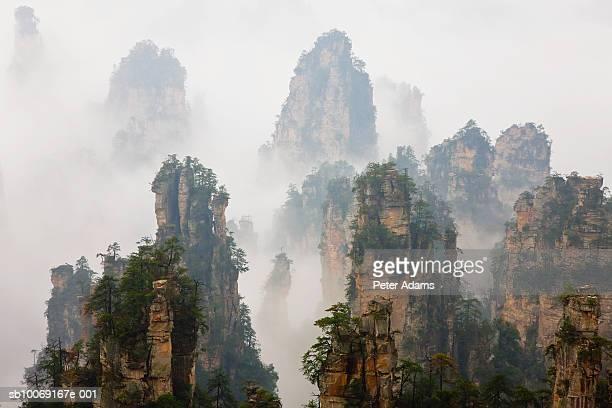 China, Hunan, Zhangjijie, Mount Tianzi in fog