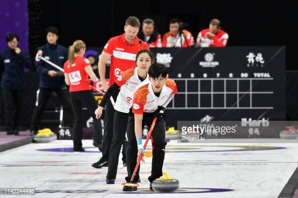 China in action during the Curling Mixed Doubles round robin matches between China and Canada Team 1 on day 1 of the 20182019 WCF Curling World Cup...
