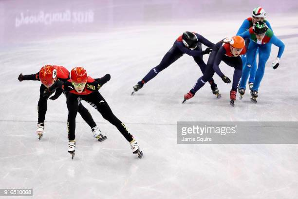 China Italy and Netherlands compete during the Ladies' 3000m relay Short Track Speed Skating qualifying on day one of the PyeongChang 2018 Winter...