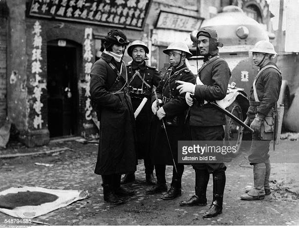China : Japanese occupation of Manchuria following the Mukden Incident on Sept 18, 1931 Japanese officers in a Manchurian city with traditional...