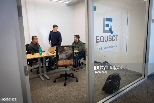 China Khatua fonder and chief executive officer of Equbot from left Art Armador cofounder and chief operating officer of Equbot and Chris Natividad...