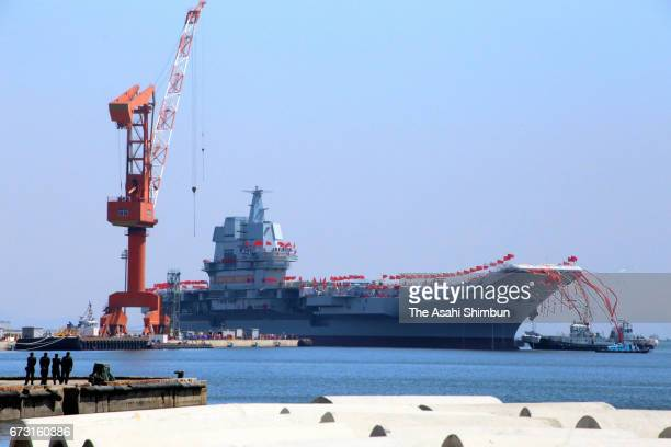 China launches its first domestically developed aircraft carrier at Dalian Port during a launch ceremony on April 26 2017 in Dalian Liaoning Province...