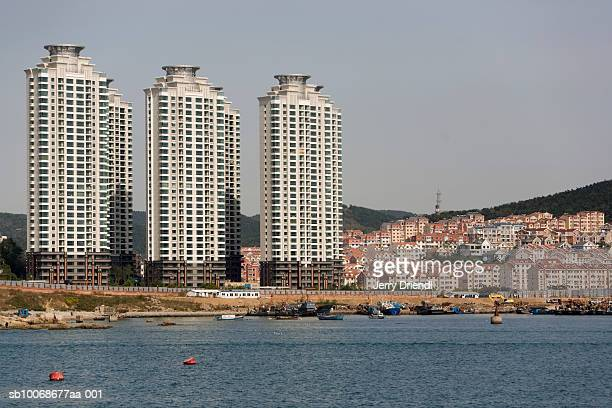 China, Liaoning Province, Dalian, Zhongshan District, apartment buildings near Tiger Beach Park