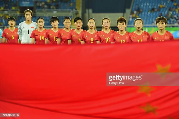 China line up prior to the Women's Group E first round match between South Africa and China PR on Day 1 of the Rio 2016 Olympic Games at the Olympic...